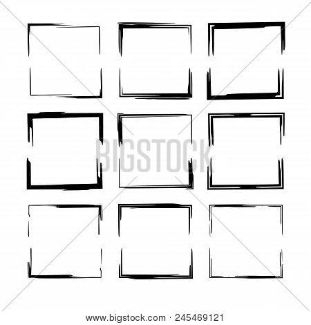 Set Of Black Grunge Frames. Collection Of Sliced Square Empty  Borders. Vector Illustration.