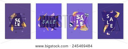 Set Of Sale Banners With Geometric Abstract Composition. Dark Promotion Cards With Sliced Trendy Tex
