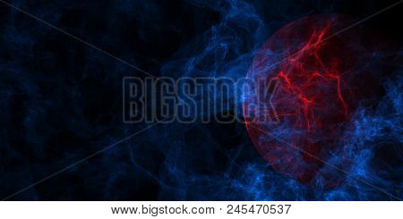 Abstract Blue Smoke And Red Planet Background With Copy Space. Mystery Concept. 3d Rendering