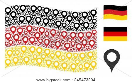 Waving Germany Official Flag. Vector Map Marker Pictograms Are Arranged Into Geometric German Flag C