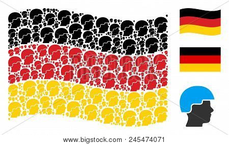 Waving German Flag. Vector Soldier Helmet Design Elements Are Placed Into Geometric Germany Flag Abs
