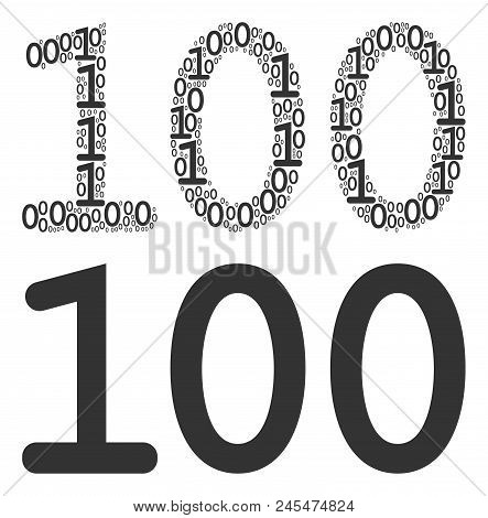 100 Text Composition Icon Of Zero And One Symbols In Various Sizes. Vector Digit Symbols Are Formed