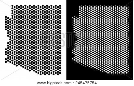 Hex-tile Arizona State Map. Vector Geographic Plan In Black And White Versions. Abstract Arizona Sta
