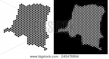 Honeycomb Democratic Republic Of The Congo Map. Vector Territorial Scheme In Black And White Version
