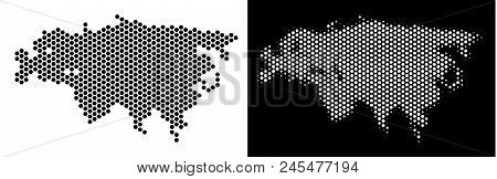 Hex Tile Eurasia Map. Vector Territory Scheme In Black And White Variants. Abstract Eurasia Map Conc