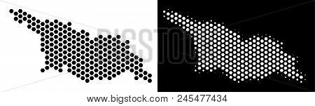 Hexagon Georgia Map. Vector Territorial Plan In Black And White Versions. Abstract Georgia Map Conce