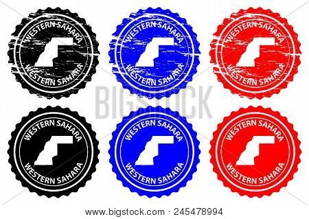 Western Sahara - Rubber Stamp - Vector, Western Sahara Map Pattern - Sticker - Black, Blue And Red