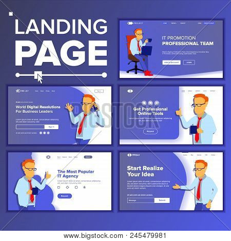 Landing Website Page Vector. Business Website. Web Page. Landing Design Template. Processes And Offi