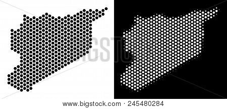 Honeycomb Syria Map. Vector Geographic Scheme In Black And White Variants. Abstract Syria Map Compos