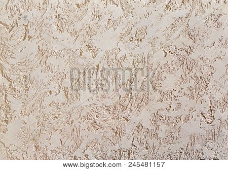 Beige Rough Wall Textured Background. Abstact Stucco. Texture Of Plaster On The Wall. Macro, High Re