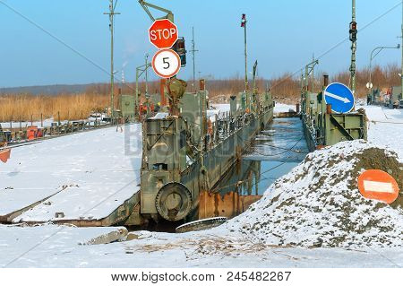 pontoon crossing the river, temporary pontoon bridge poster