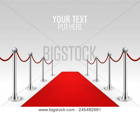Red Carpet Event Silver Barriers Background Realistic Vector Illustration. Red Carpet Luxury Entranc