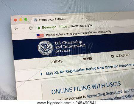Amsterdam, Netherlands - June 14, 2018:  Official American Government Website Of The U.s. Citizenshi