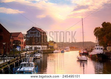 Lithuania, Klaipeda At Night. Old Town And Dane River.