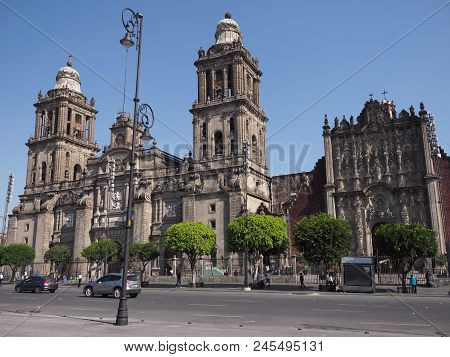 Mexico City, North America On March 2018: Exterior Of Metropolitan Cathedral Of The Assumption Of Ma