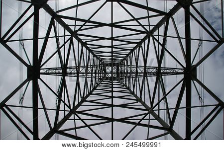 symmetric view in the center in a tower for power lines in the Hennipgaarde in Zevenhuizen, the Neth