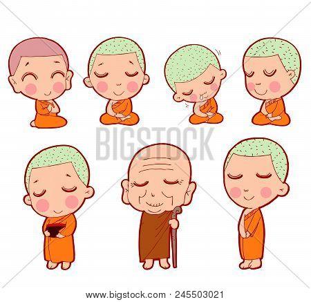 Buddhist Monks Sitting In Meditation. Buddhist Monk Character, Buddhist Monk Cartoon, Monk Set, Chil