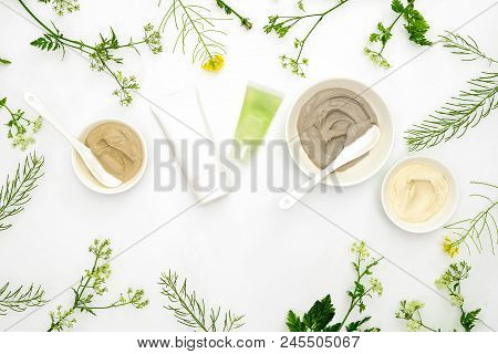Natural Cosmetics Set With Various Kinds Of Cosmetic Clays Ready For Spa Treatment Decorated With Fr