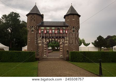 Entrance Gate And Castle Wall Surrounding The Estate Of De Haar Castle