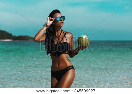 Beautiful Sexy Amazing Young Woman On The Beach, Excellent Time, Tanned Radiant Skin, Long Hair, Bla