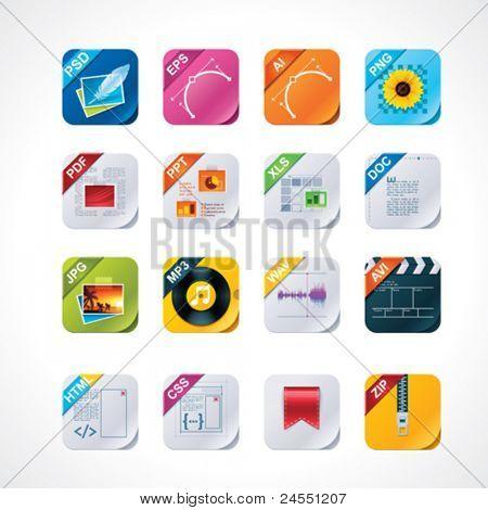 Conjunto de iconos de etiquetas de archivo cuadrados