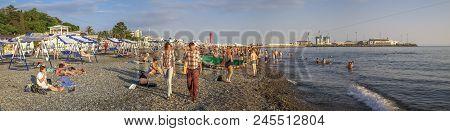 SOCHI, RUSSIA - JUNE 2, 2018: People on Riviera beach.