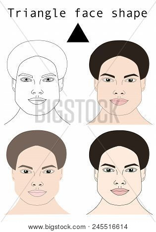 Face Shapes Guide For Make Up Artist School.  Blank Faces Without Make Up Vector Illustration. Indiv
