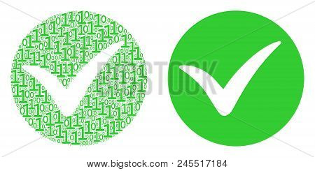 Apply Mosaic Icon Of One And Zero Digits In Various Sizes. Vector Digits Are Combined Into Apply Com