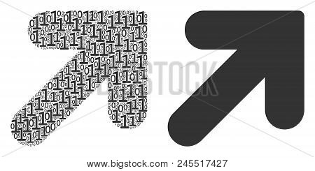 Arrow Up Right Mosaic Icon Of One And Zero Digits In Different Sizes. Vector Digital Symbols Are Ran