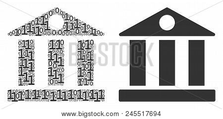 Bank Building Composition Icon Of Binary Digits In Random Sizes. Vector Digits Are Organized Into Ba