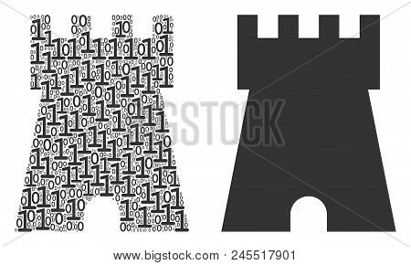 Bulwark Tower Composition Icon Of Binary Digits In Random Sizes. Vector Digital Symbols Are Formed I