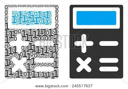 Calculator Composition Icon Of One And Zero Digits In Different Sizes. Vector Digit Symbols Are Comb