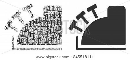 Cash Register Composition Icon Of Zero And Null Digits In Random Sizes. Vector Digital Symbols Are C
