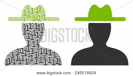 Farmer Collage Icon Of One And Zero Digits In Different Sizes. Vector Digital Symbols Are Composed I