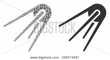 First Satellite Composition Icon Of Zero And One Symbols In Randomized Sizes. Vector Digital Symbols