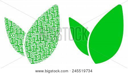 Floral Sprout Mosaic Icon Of Zero And Null Digits In Variable Sizes. Vector Digit Symbols Are Formed