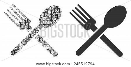 Fork And Spoon Collage Icon Of One And Zero Digits In Various Sizes. Vector Digital Symbols Are Unit