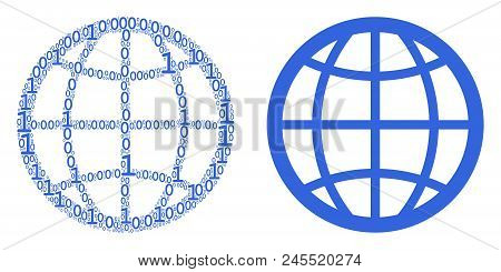 Globe Composition Icon Of Zero And Null Digits In Various Sizes. Vector Digital Symbols Are Arranged