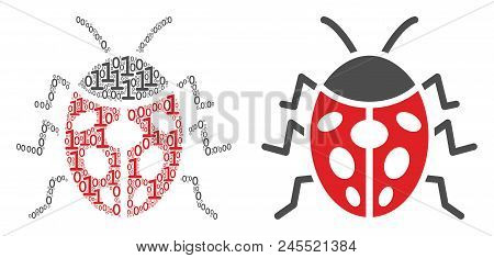 Ladybird Bug Composition Icon Of Zero And One Symbols In Randomized Sizes. Vector Digit Symbols Are