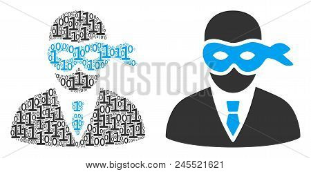 Masked Thief Mosaic Icon Of Zero And Null Digits In Different Sizes. Vector Digital Symbols Are Rand
