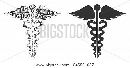 Medical Caduceus Emblem Composition Icon Of Binary Digits In Random Sizes. Vector Digital Symbols Ar