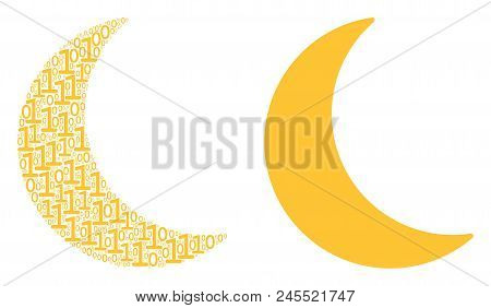 Moon Composition Icon Of Zero And Null Digits In Various Sizes. Vector Digit Symbols Are Organized I