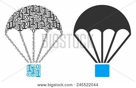 Parachute Composition Icon Of Zero And Null Digits In Various Sizes. Vector Digit Symbols Are Formed