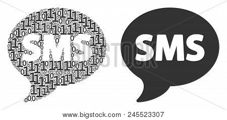 Sms Composition Icon Of Binary Digits In Variable Sizes. Vector Digits Are United Into Sms Compositi