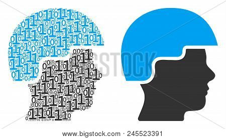 Soldier Helmet Collage Icon Of Zero And Null Digits In Variable Sizes. Vector Digit Symbols Are Comp