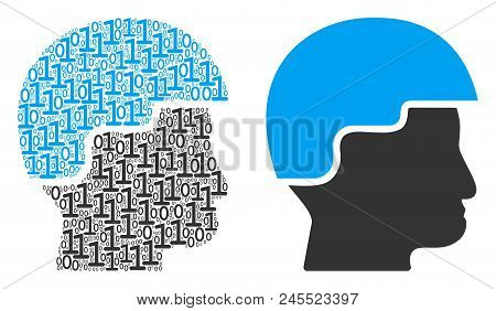 Soldier Helmet Composition Icon Of Binary Digits In Various Sizes. Vector Digital Symbols Are Arrang