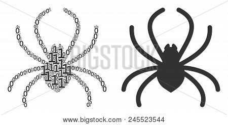 Spider Collage Icon Of Zero And Null Digits In Various Sizes. Vector Digital Symbols Are Organized I