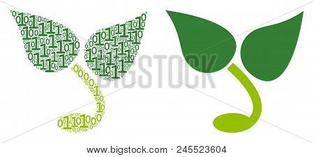 Sprout Collage Icon Of Binary Digits In Different Sizes. Vector Digit Symbols Are Arranged Into Spro