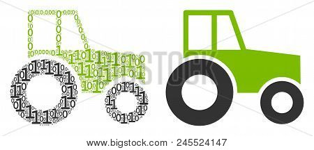 Wheeled Tractor Collage Icon Of Binary Digits In Different Sizes. Vector Digits Are Composed Into Wh