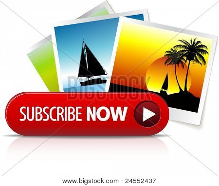 Big red subscribe now button with images for subscription